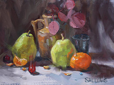 Painting - Pears With Eucalyptus by Nora Sallows