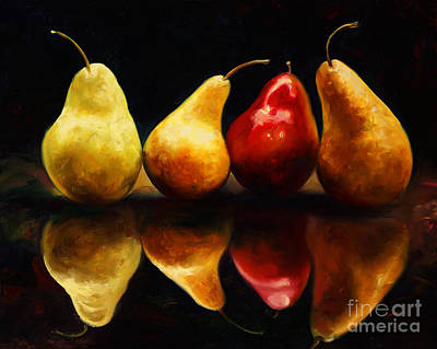 Of Fruit Painting - Pearsfect by Laurie Hein