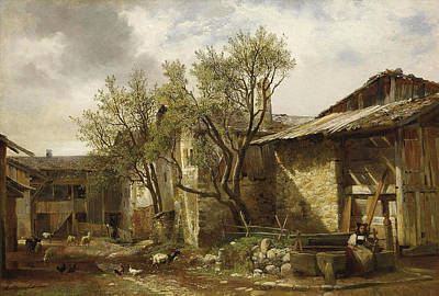 Alexandre Calame Painting - Peasant And Farm With Animals by Alexandre Calame