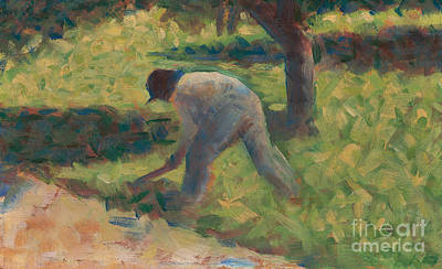 Peasant With A Hoe Art Print by Georges Pierre Seurat