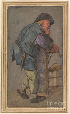 Peasants Painting - Peasant With A Pipe In His Hand, Leaning On The Back Of A Chair by Celestial Images