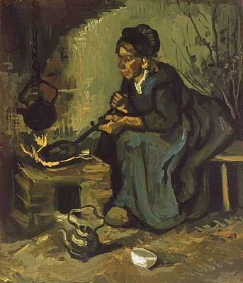 Painting - Peasant Woman Cooking By A Fireplace by Artistic Panda
