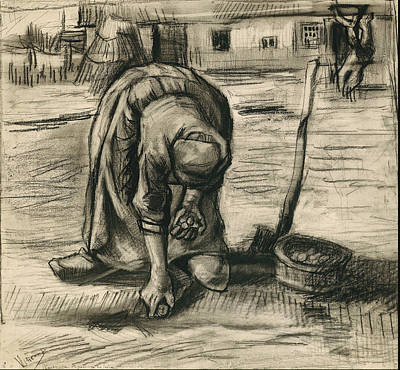 Focus On Foreground Painting - Peasant Woman Planting Potatoes 1885 by Vincent Van Gogh