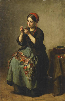 Peasant Woman Threading A Needle Art Print by Jules Breton