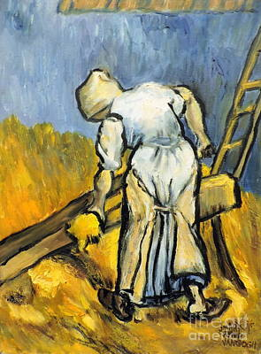Painting - Peasant Women Cutting Wheat by Jodie Marie Anne Richardson Traugott          aka jm-ART