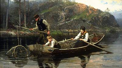 Net Painting - Peasants In A Boat Fishing by Mountain Dreams