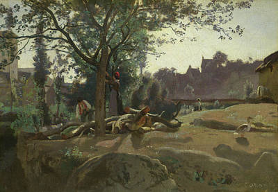 Duck Painting - Peasants Under The Trees At Dawn by Camille Corot