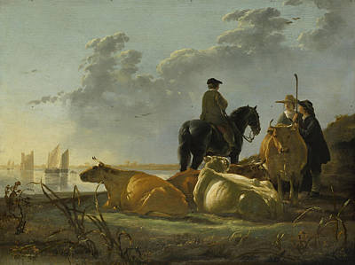 Peasants With Four Cows By The River Merwede Print by Aelbert Cuyp