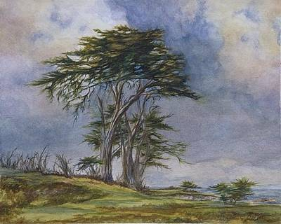 Early California Landscape Painting - Pebble Beach Cypress  by Candace Bell