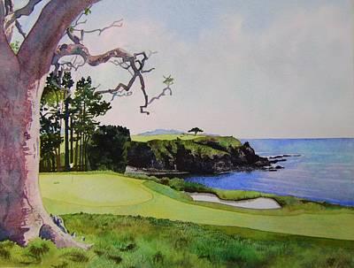 Pebble Beach Gc 5th Hole Art Print by Scott Mulholland