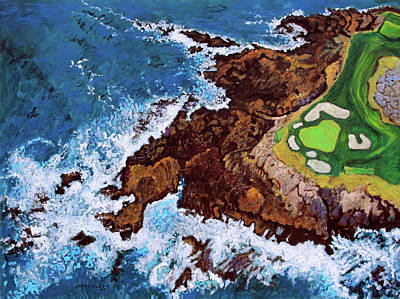 Painting - Pebble Beach Golf Course by John Lautermilch