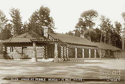 Photograph - Pebble Beach Lodge By George A. Besaw Circa 1910 by California Views Archives Mr Pat Hathaway Archives