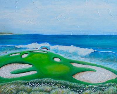 7th Hole Painting - Pebble Beach by Nancy Quiaoit