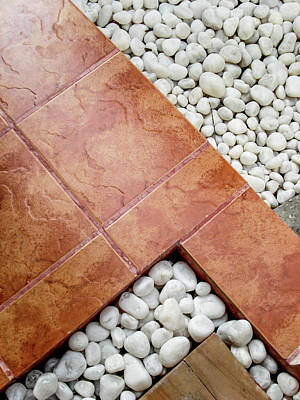 Photograph - Pebbles And Paving Tiles Geometric Abstract  by Jenny Rainbow