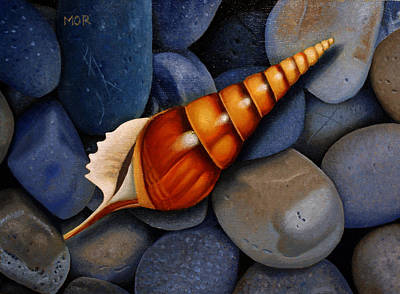Painting - Pebbles and Snail Shell by Dietrich Moravec
