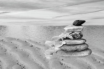 Zen Rocks Photograph - Pebbles And White Orchids At Sunset In Black And White by Gill Billington
