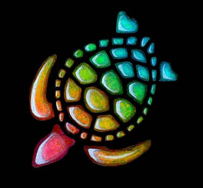 Yellow Painting - Pebbles Turtle Black by Sarah Krafft
