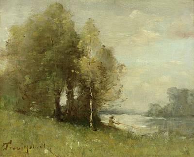 Ligne Painting - Pecheur A La Ligne Assis by Paul Desire