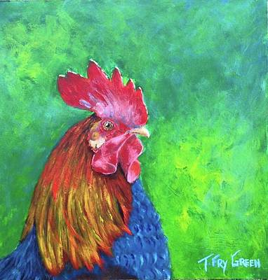 Painting - Morning Rooster by T Fry-Green