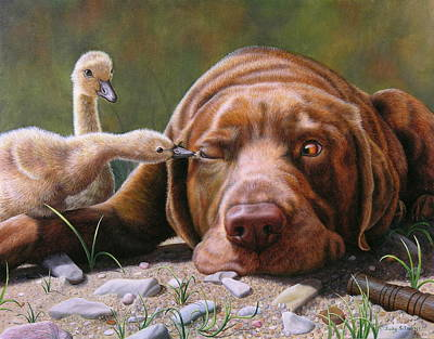 Goslings Painting - Pecking Order by Judy Schrader