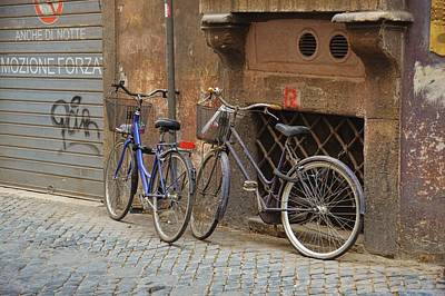 Bicycling Thru Rome Art Print by JAMART Photography