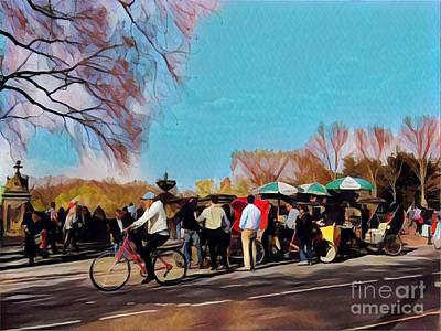 Photograph - Pedaling In The Park - Central Park New York by Miriam Danar
