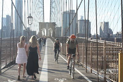 Photograph - Pedestrian And Bicycle Paths On The Brooklyn Bridge by John Telfer