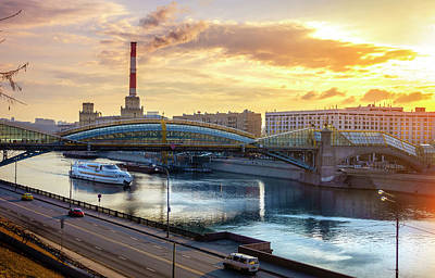 Photograph - Pedestrian Bridge Across The Moscow River by Alexey Stiop
