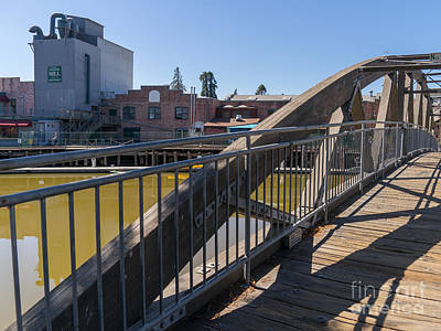 Photograph - Pedestrian Bridge In Petaluma California Usa Dsc3750 by Wingsdomain Art and Photography