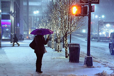 Pedestrian On Park Avenue Near Grand Central In The Winter Storm Late Night New York Ny Original by Alexander Winogradoff