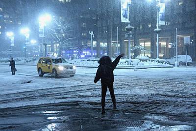 Pedestrian Waving For Cab On Park Avenue North Of Grand Central Original by Alexander Winogradoff
