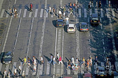 Crosswalk Photograph - Pedestrians On A Zebra Crossing On The Champs-elysees by Sami Sarkis