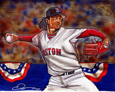 Baseball Drawing - Pedro Martinez by Dave Olsen