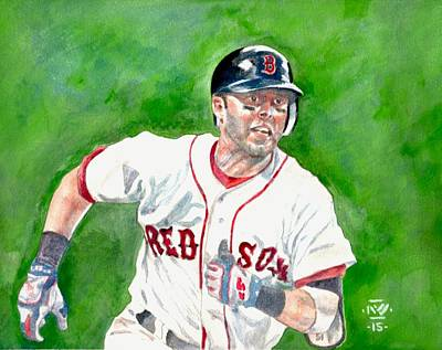 Fenway Park Boston Painting - Pedroia by Nigel Wynter
