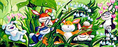 Peek-a-boo Bunnies Art Print by Hanne Lore Koehler
