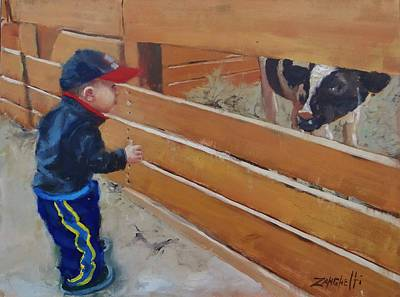 Grandson Painting - Peekaboo by Laura Lee Zanghetti