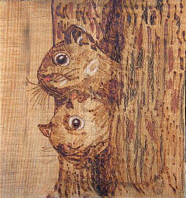 Woodburning Pyrography - Peek A Boo by Margaret G Calenda