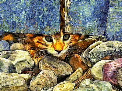 Pets Digital Art - Peek A Boo by Mark Kiver