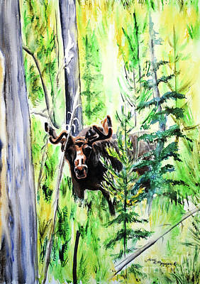 Painting - Peek A Boo Moose by Tracy Rose Moyers