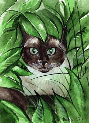 Art Print featuring the painting Peek A Boo Siamese Cat by Dora Hathazi Mendes
