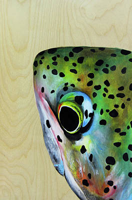 River Rafting Painting - Peek A Boo Trout by Lacey Hermiston
