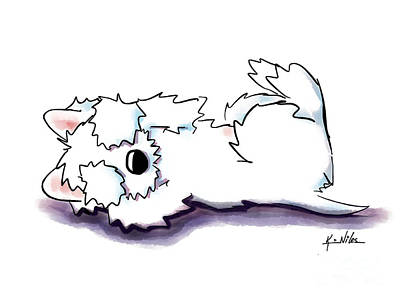 Westie Digital Art - Peek-a-boo Puppy by Kim Niles