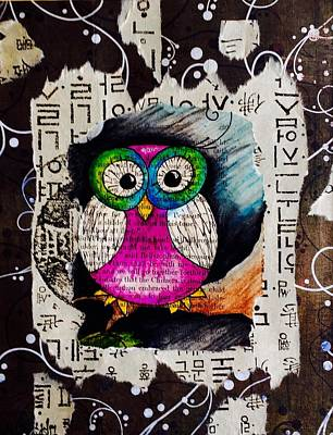 Language Mixed Media - Peek-a-hoot by Leslie Encinosa Bridges