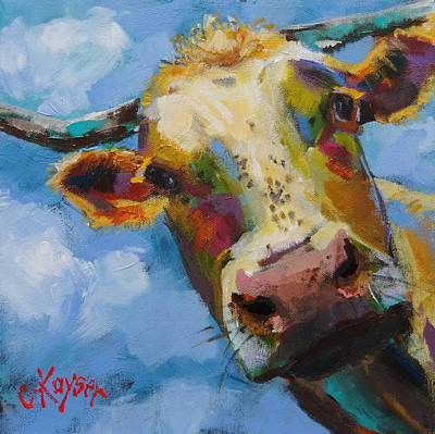 Moo Moo Painting - Peek A Moo by Claire Kayser