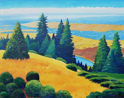 Redwoods Painting - Peek Of Water by Gary Coleman