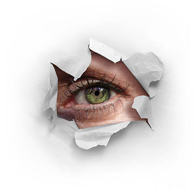 White Background Photograph - Peek Through A Hole by Carlos Caetano