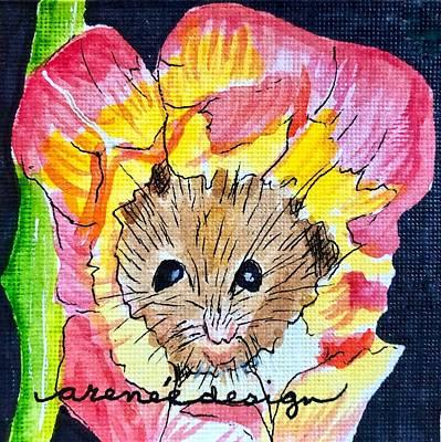 Mixed Media - Peekaboo Mouse In Tulip by Renee Marie Martinez