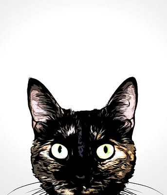 Cute Cat Mixed Media - Peeking Cat by Nicklas Gustafsson