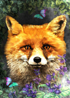 Red Fox Mixed Media - Peeking Through The Flowers by G Berry
