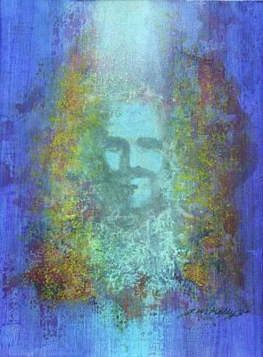 Painting - Peeking Thru Maya 2 In Blue by J W Kelly